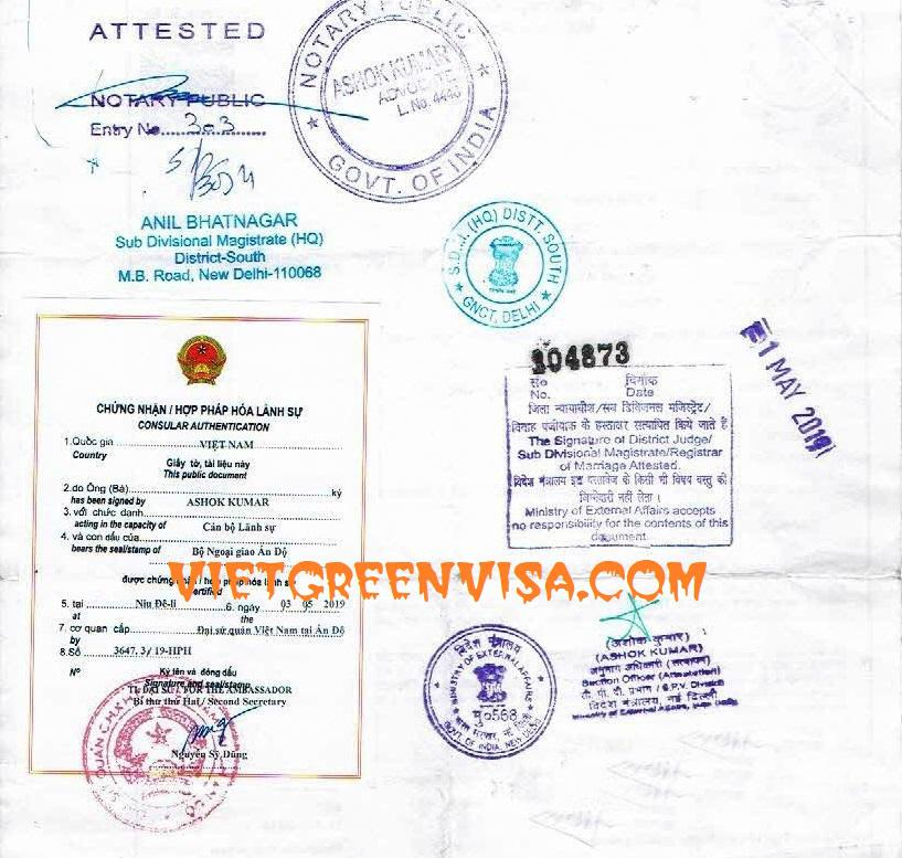 Consular legalization of foreign documents to be used in Vietnam
